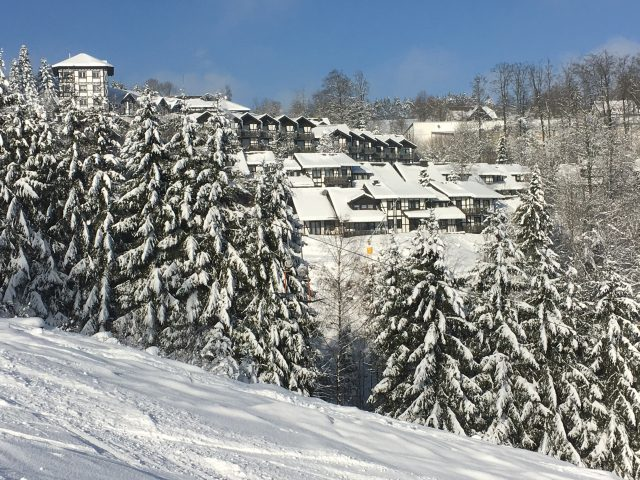 Winter view from the ski slope at the holiday house